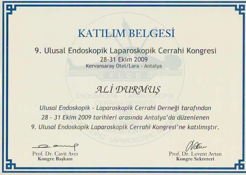 endoskopi katılım belgesi