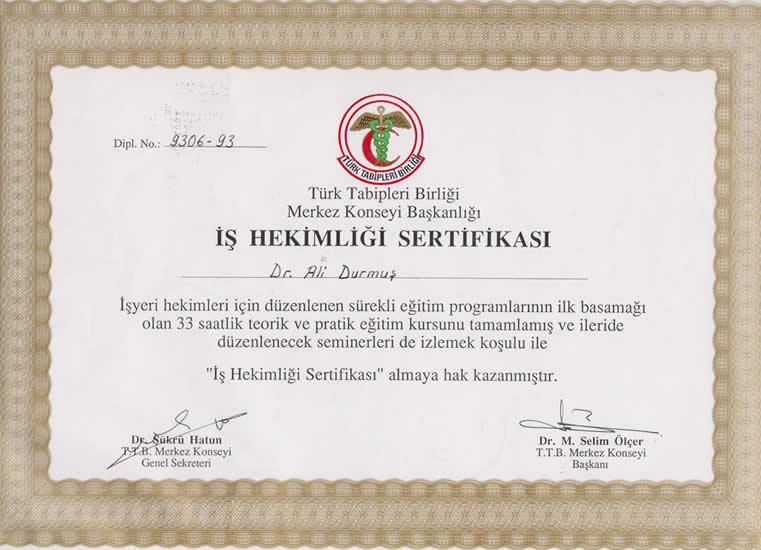 iş hekimliği sertifikası