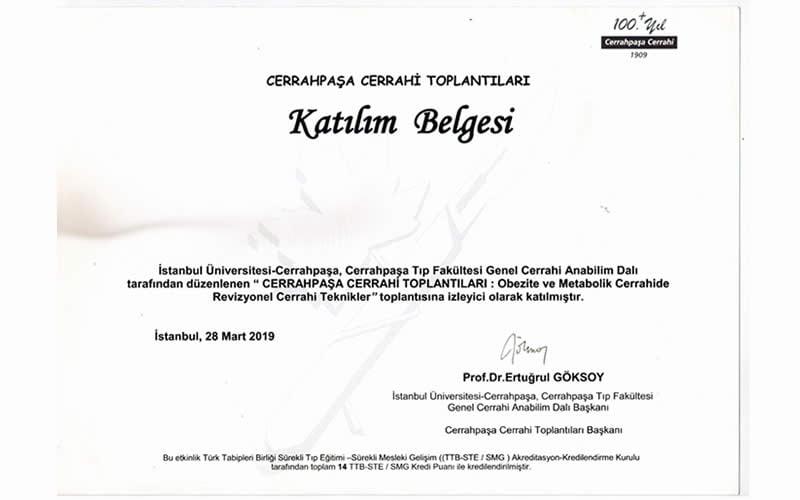 cerrahpaşa katılım sertifikası